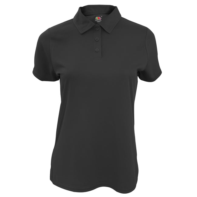 Black - Front - Fruit Of The Loom Womens-Ladies Moisture Wicking Lady-Fit Performance Polo Shirt