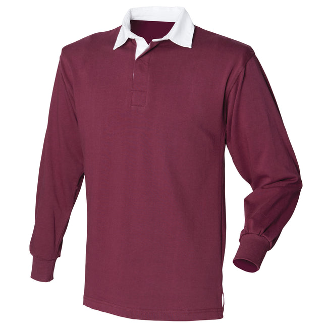 Burgundy - Front - Front Row Mens Long Sleeve Sports Rugby Shirt