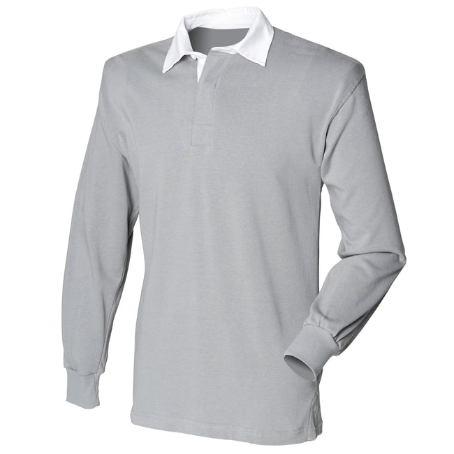 Slate Grey - Front - Front Row Mens Long Sleeve Sports Rugby Shirt