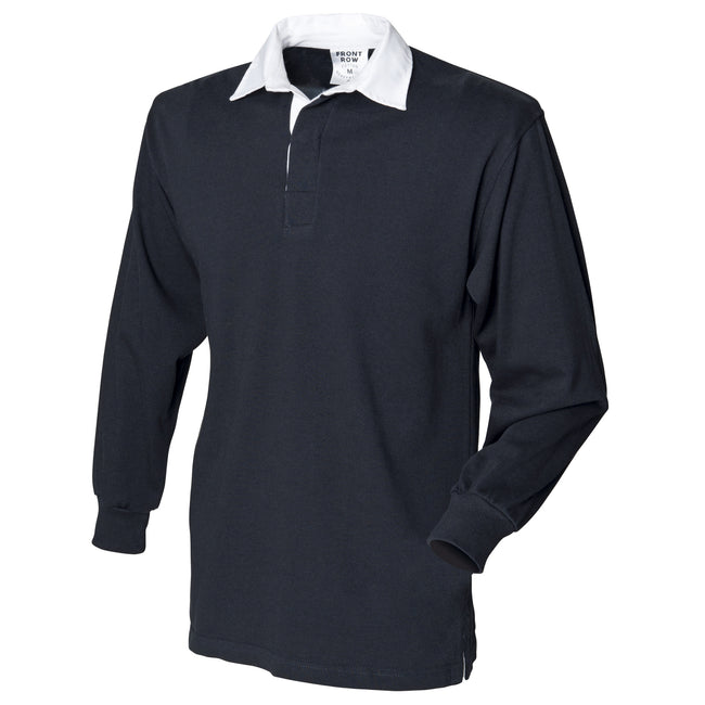 Black - Front - Front Row Mens Long Sleeve Sports Rugby Shirt