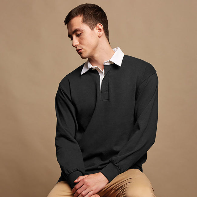 Black - Back - Front Row Mens Long Sleeve Sports Rugby Shirt