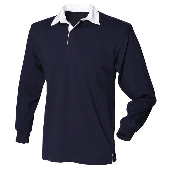 Navy - Front - Front Row Mens Long Sleeve Sports Rugby Shirt