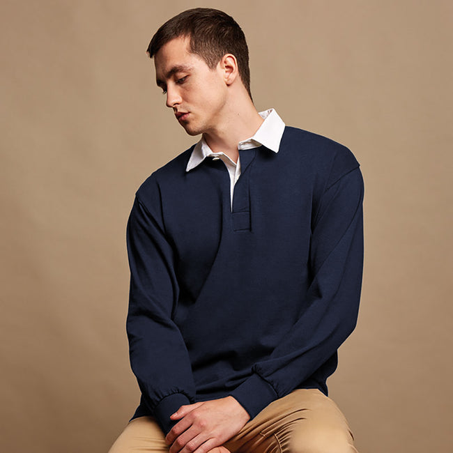 Navy - Back - Front Row Mens Long Sleeve Sports Rugby Shirt