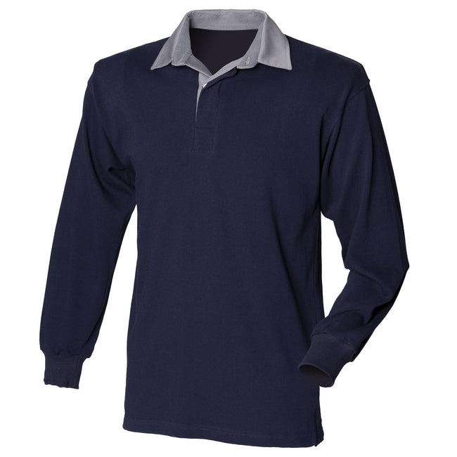 Navy-Slate collar - Front - Front Row Mens Long Sleeve Sports Rugby Shirt