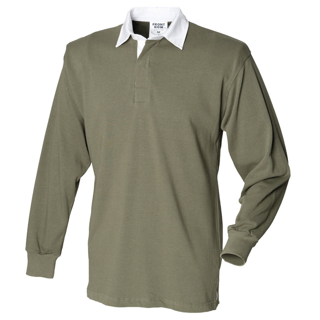 Olive - Front - Front Row Mens Long Sleeve Sports Rugby Shirt