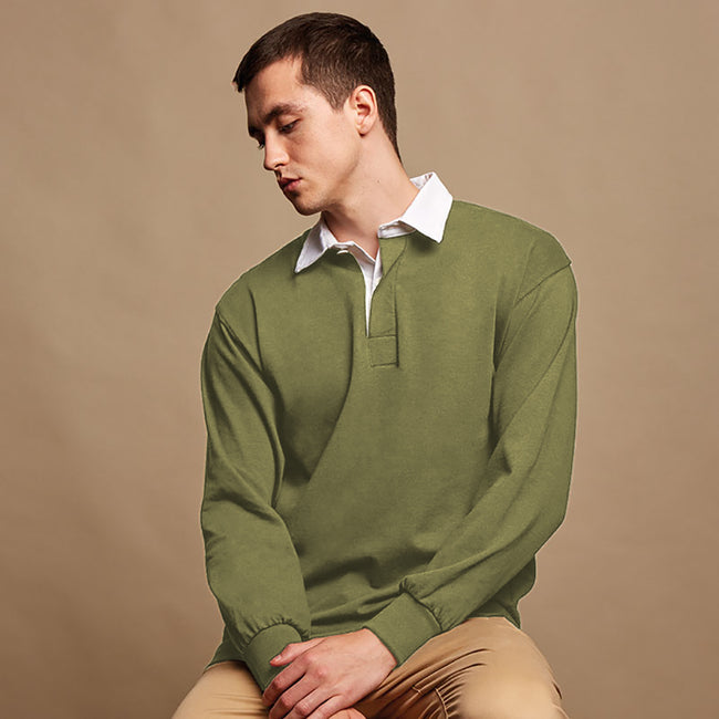 Olive - Back - Front Row Mens Long Sleeve Sports Rugby Shirt