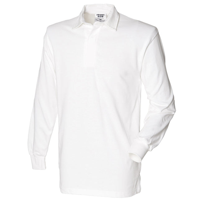 White - Front - Front Row Mens Long Sleeve Sports Rugby Shirt