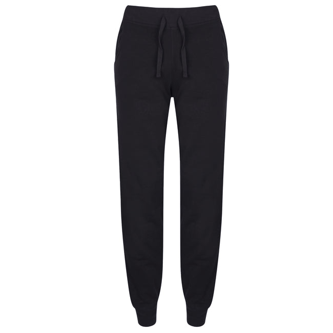 Black - Front - Skinnifit Womens-Ladies Slim Cuffed Jogging Bottoms-Trousers
