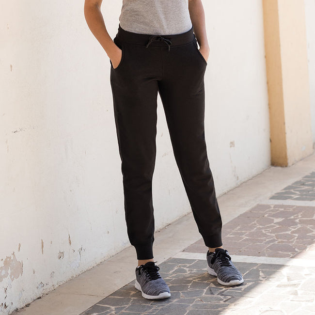 Black - Side - Skinnifit Womens-Ladies Slim Cuffed Jogging Bottoms-Trousers