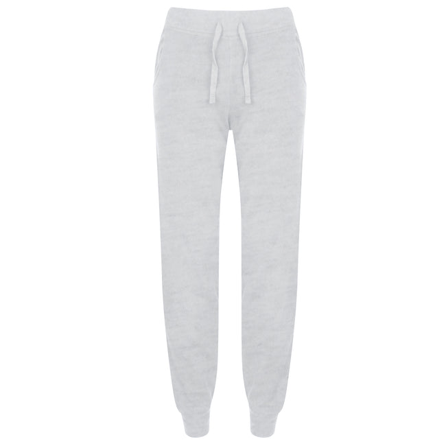 Heather Grey - Front - Skinnifit Womens-Ladies Slim Cuffed Jogging Bottoms-Trousers