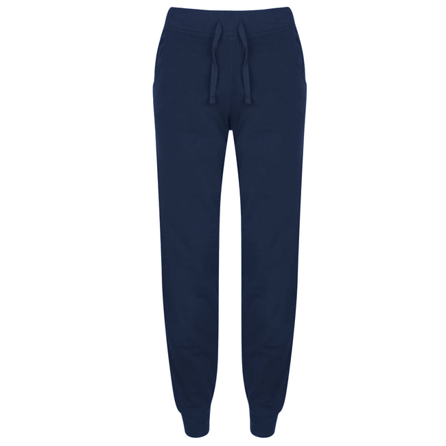 Navy - Front - Skinnifit Womens-Ladies Slim Cuffed Jogging Bottoms-Trousers