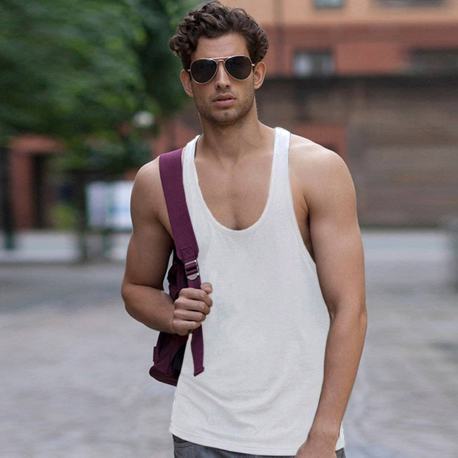 White - Back - Skinnifit Mens Plain Sleeveless Muscle Vest