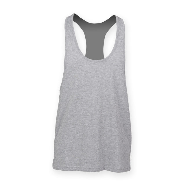 Heather Grey - Front - Skinnifit Mens Plain Sleeveless Muscle Vest