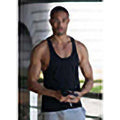 Black - Side - Skinnifit Mens Plain Sleeveless Muscle Vest