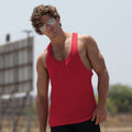Bright Red - Back - Skinnifit Mens Plain Sleeveless Muscle Vest