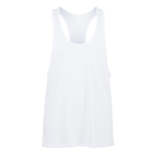 White - Front - Skinnifit Mens Plain Sleeveless Muscle Vest