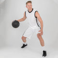 White-Black - Side - Spiro Mens Quick Dry Basketball Shorts
