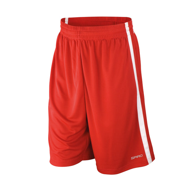 Red-White - Back - Spiro Mens Quick Dry Basketball Shorts
