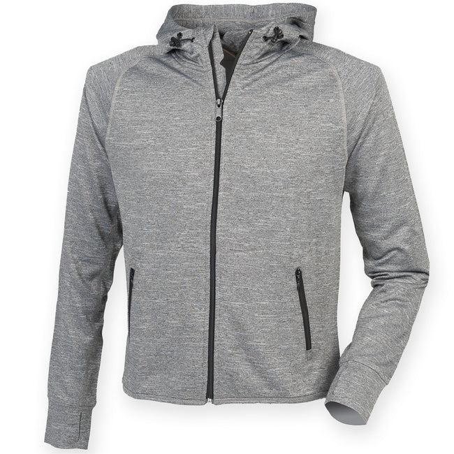 Grey Marl - Front - Tombo Teamsport Womens-Ladies Lightweight Running Hoodie With Reflective Tape