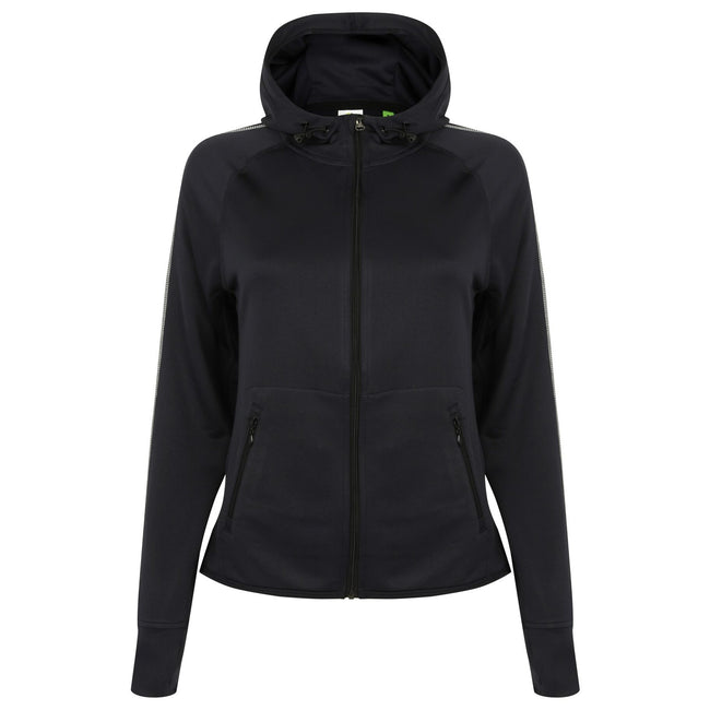 Navy - Front - Tombo Teamsport Womens-Ladies Lightweight Running Hoodie With Reflective Tape