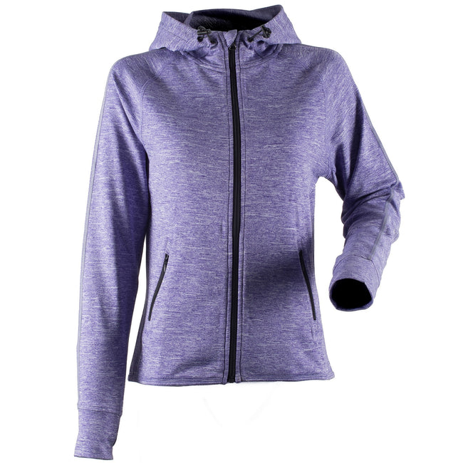Purple Marl - Front - Tombo Teamsport Womens-Ladies Lightweight Running Hoodie With Reflective Tape