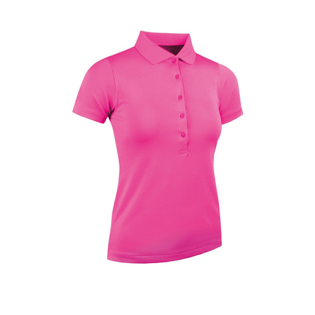 Hot Pink - Front - Glenmuir Womens-Ladies Performance Pique Polo Shirt