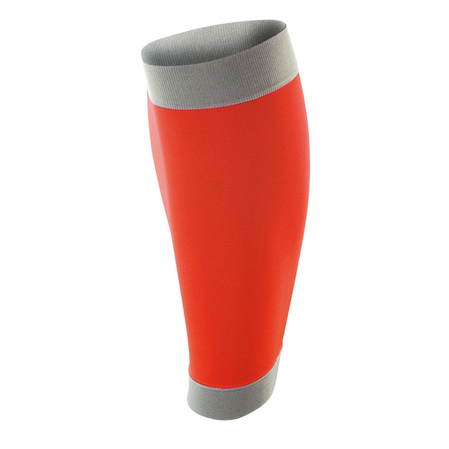 Orange-Grey - Front - Spiro Adult Unisex Contrast Compression Calf Guards