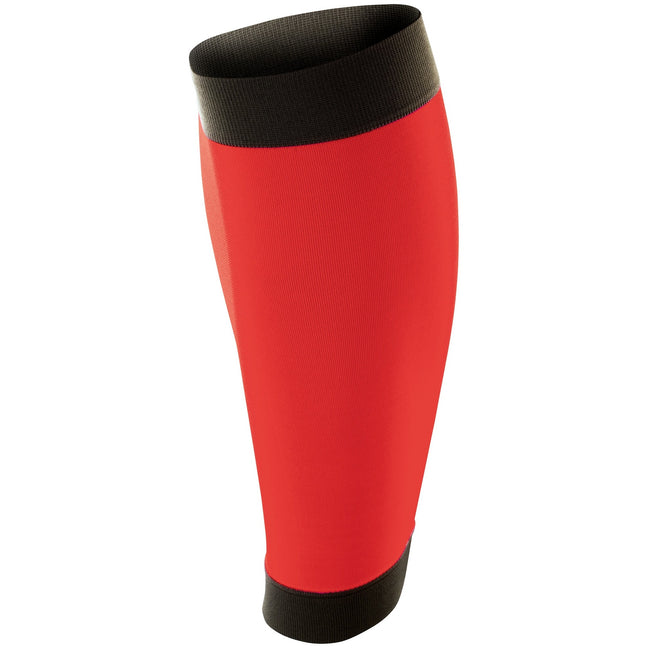 Red-Black - Front - Spiro Adult Unisex Contrast Compression Calf Guards