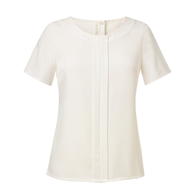 Cream - Front - Brook Taverner Womens-Ladies Felina Crepe De Chine Short Sleeve Blouse