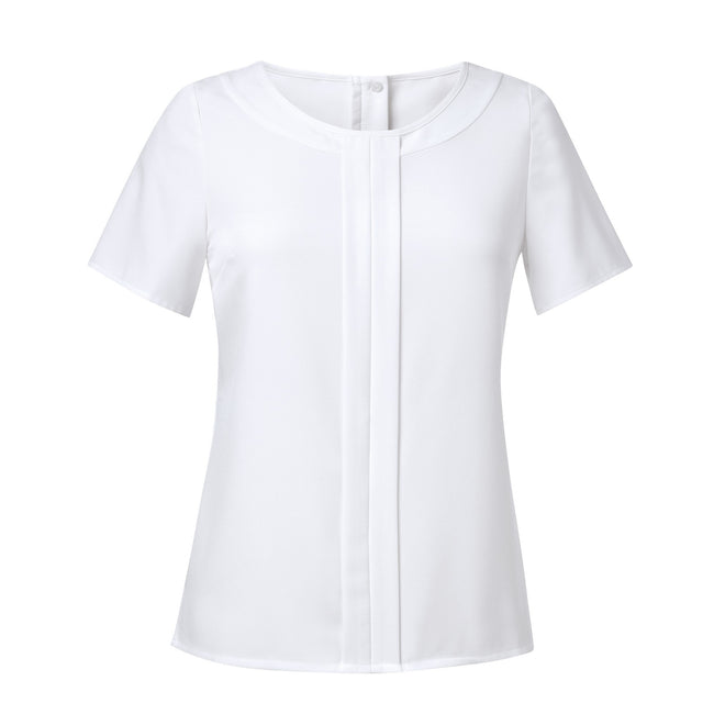 White - Front - Brook Taverner Womens-Ladies Felina Crepe De Chine Short Sleeve Blouse