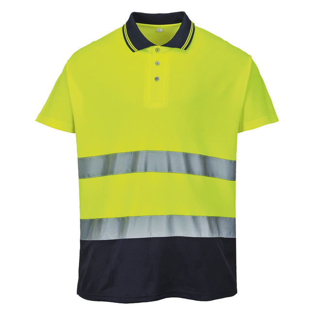 Yellow- Navy - Front - Portwest Mens Hi-Vis Two-Tone Cotton Comfort Polo Shirt
