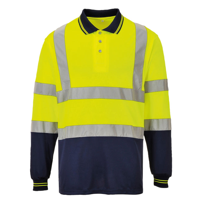 Yellow- Navy - Front - Portwest Mens Hi-Vis Two-Tone Long Sleeve Polo Shirt