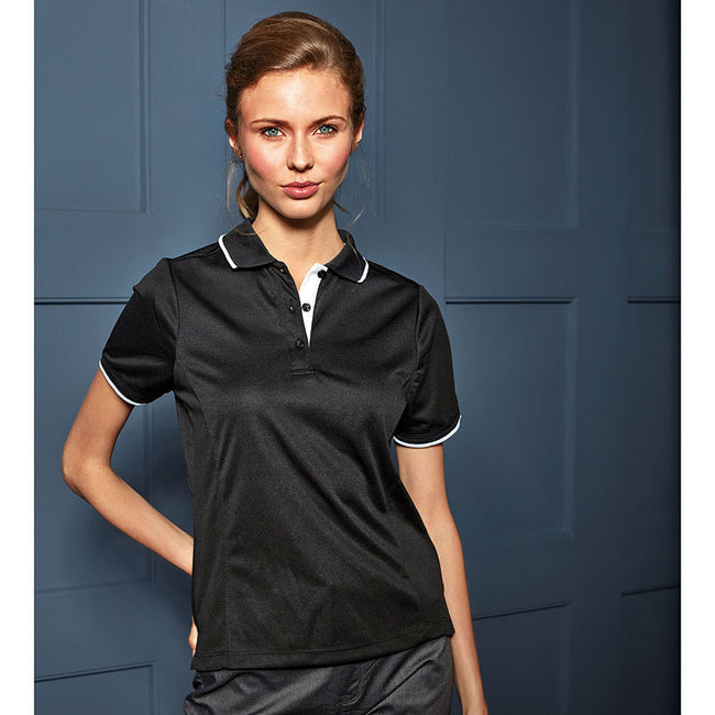 Dark Grey-Silver - Front - Premier Womens-Ladies Contrast Coolchecker Polo Shirt