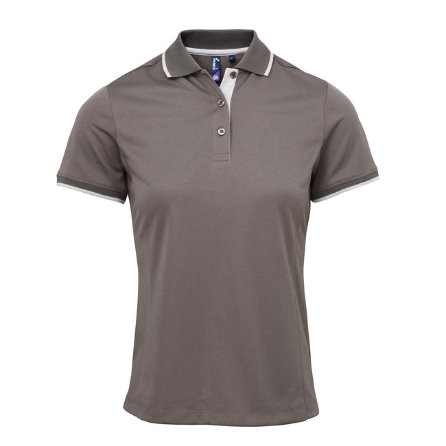 Dark Grey-Silver - Side - Premier Womens-Ladies Contrast Coolchecker Polo Shirt