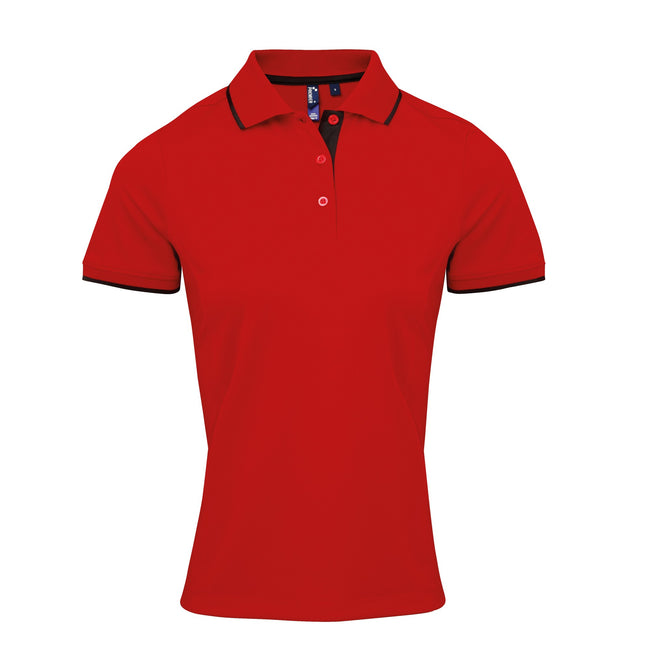 Red-Black - Front - Premier Womens-Ladies Contrast Coolchecker Polo Shirt