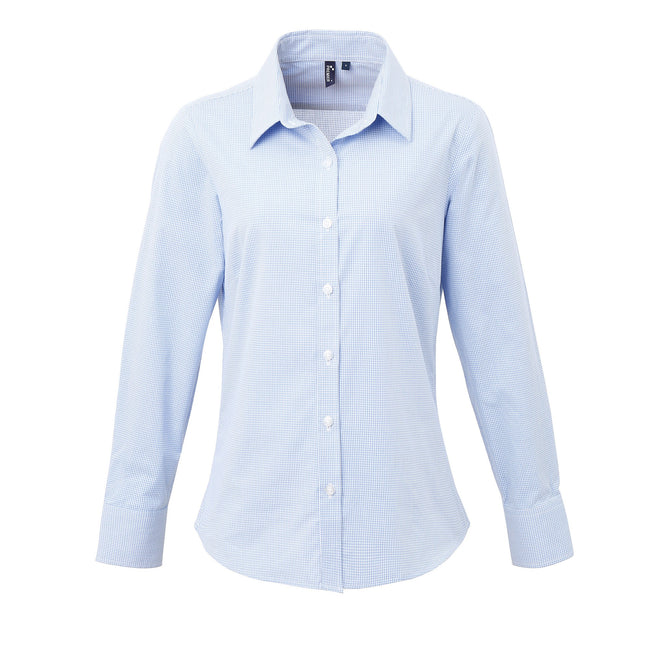 Light Blue-White - Front - Premier Womens-Ladies Microcheck Long Sleeve Shirt