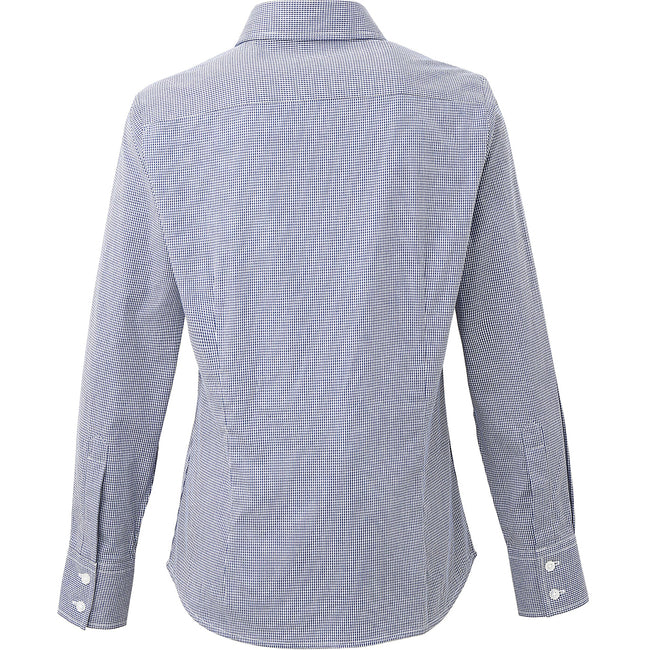 Navy-White - Back - Premier Womens-Ladies Microcheck Long Sleeve Shirt