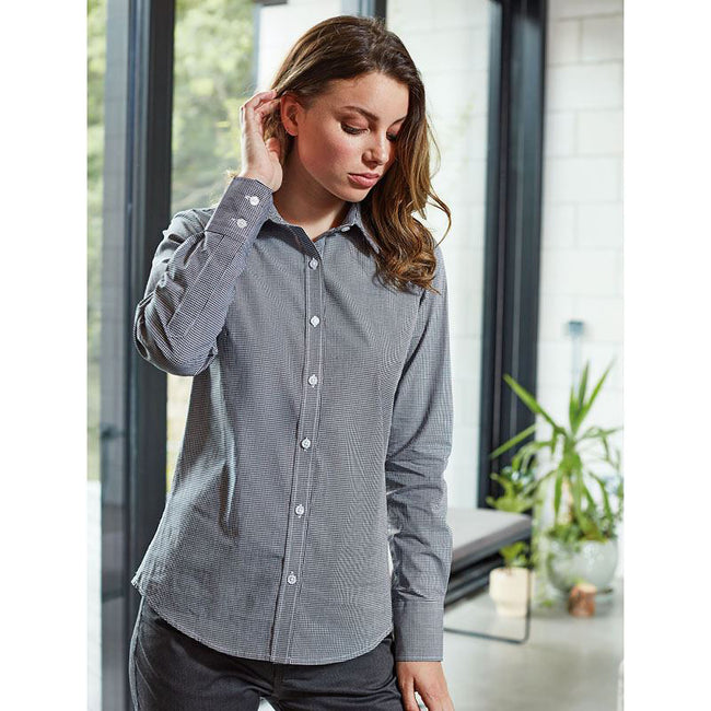 Navy-White - Pack Shot - Premier Womens-Ladies Microcheck Long Sleeve Shirt