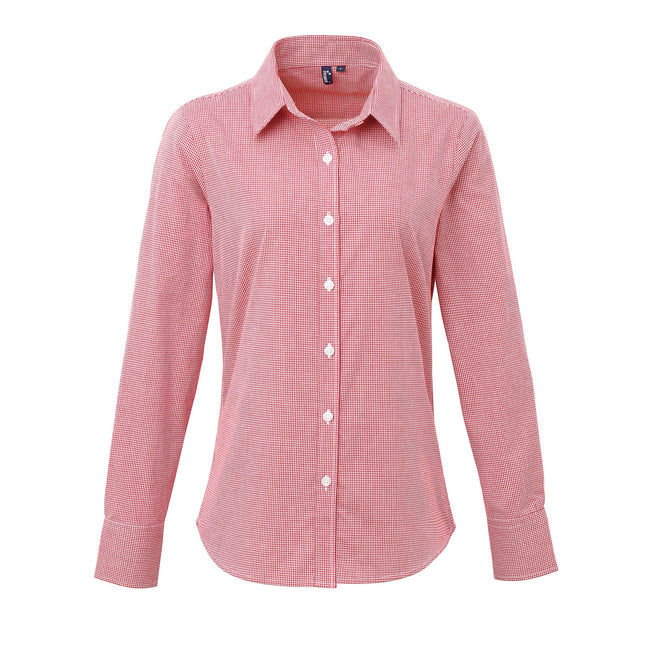 Red-White - Front - Premier Womens-Ladies Microcheck Long Sleeve Shirt
