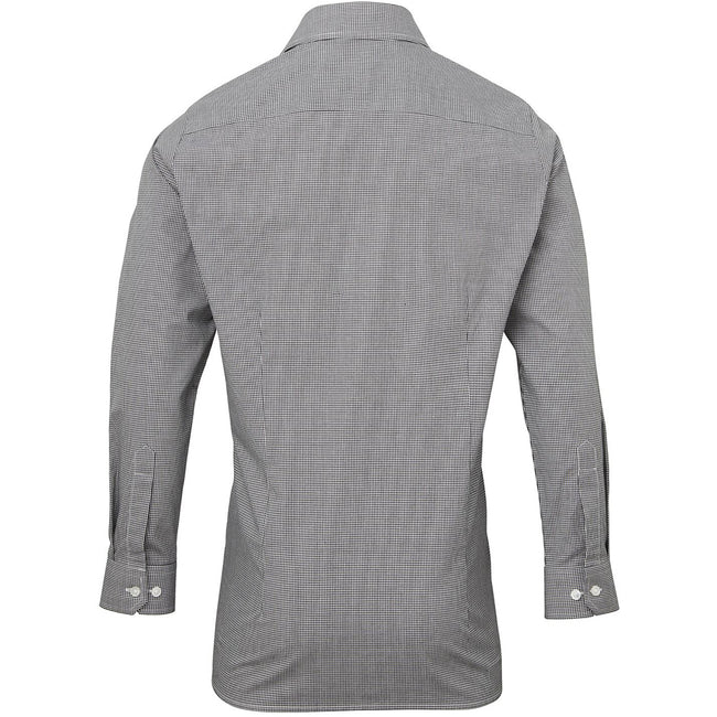 Black-White - Back - Premier Mens Microcheck Long Sleeve Shirt