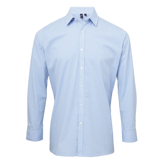 Light Blue-White - Front - Premier Mens Microcheck Long Sleeve Shirt