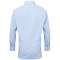 Light Blue-White - Back - Premier Mens Microcheck Long Sleeve Shirt