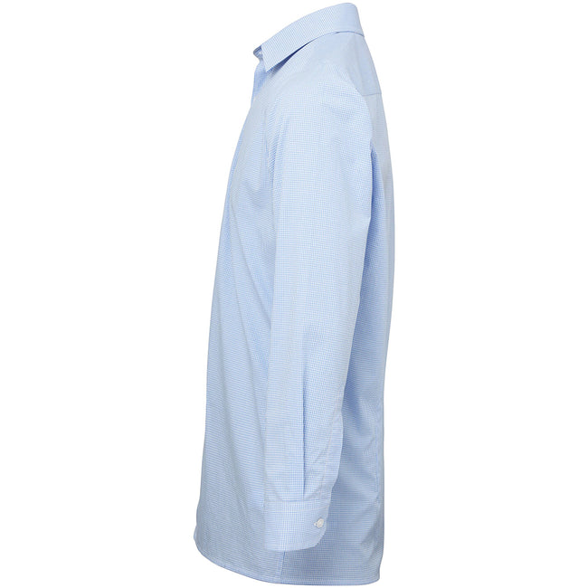 Light Blue-White - Side - Premier Mens Microcheck Long Sleeve Shirt