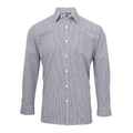 Navy-White - Front - Premier Mens Microcheck Long Sleeve Shirt