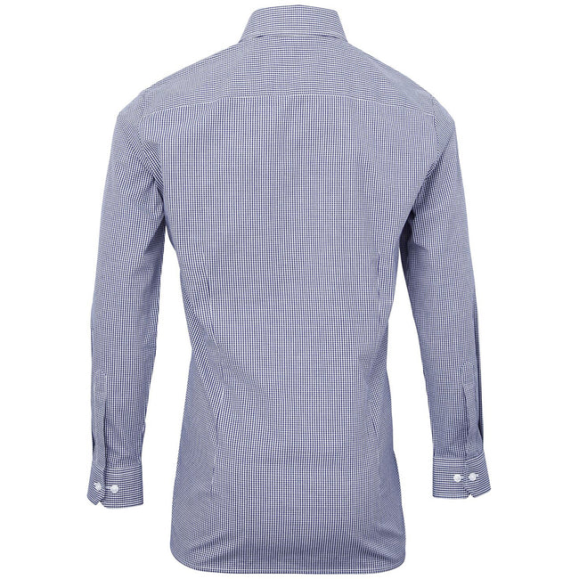 Navy-White - Back - Premier Mens Microcheck Long Sleeve Shirt