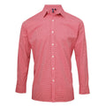 Red-White - Front - Premier Mens Microcheck Long Sleeve Shirt