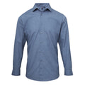 Indigo Denim - Front - Premier Mens Poplin Cross-Dye Roll Sleeve Shirt