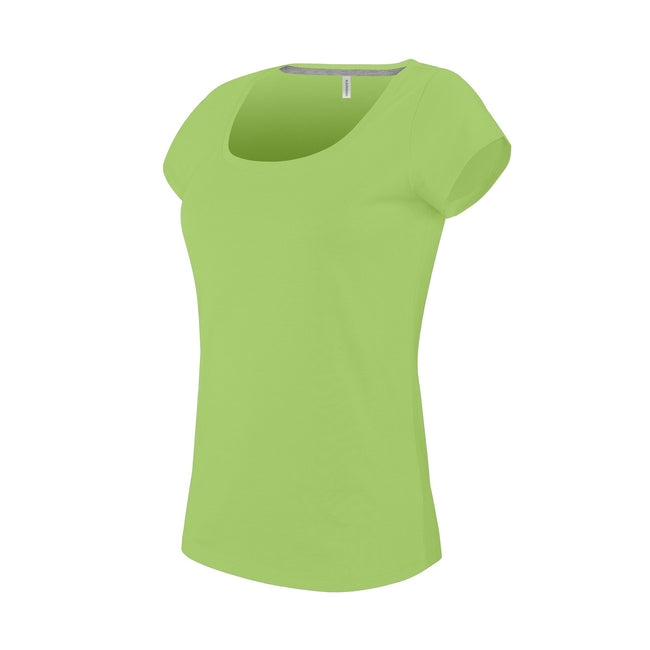 Lime - Front - Kariban Womens-Ladies Boat Neck Short Sleeve T-Shirt