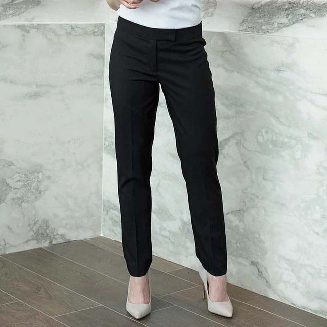 Black - Back - Henbury Womens-Ladies Tapered Leg Trousers