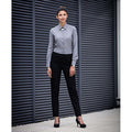 Black - Side - Henbury Womens-Ladies Tapered Leg Trousers